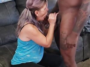 Mature Slut Gargling Ebony Shaft