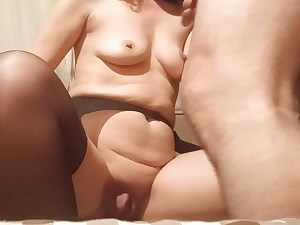 Wifey shows Huge pussy, huge labia, money-shot on her tits