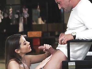 orgasm, she rewards him for the photoshoot, smallish couple