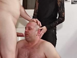 Teenie goth mistress help her dad to facefuck slave pt1