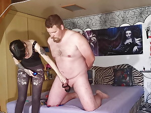 Slave gets electric Cock ball torture with clothespins from goth domme pt2
