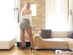 Red-hot step-mother shows off some sexy nylons