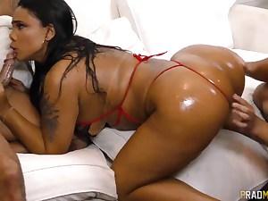 Sexy Latina girl gets dual banged and blows knobs