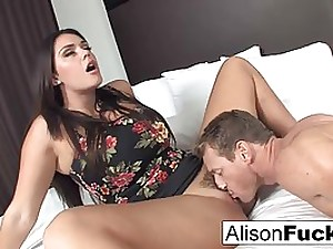 Alison took off her floral sundress and stretch her gams broad open to get porked stiff