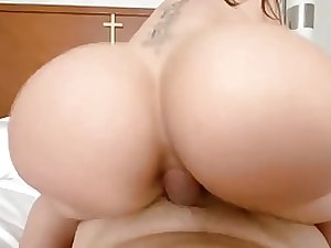 Big-Boobed brown-haired with a large, chubby ass is having hard-core fuck-a-thon instead of getting well-prepped for work